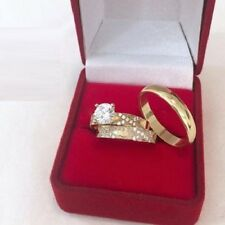 14K Yellow Gold Over Diamonds Trio Set His & Her Wedding Bridal Engagement Rings