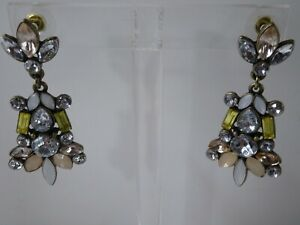 Ann Tayor Women's Pearlized Opal PInk Yellow Stone Drop Earrings NWOT 69 Collect