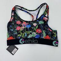 Ethika Sz L The S Bra Floral Cloth Racerback Activewear Bra NWT New