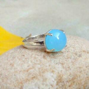 925 Sterling Silver Blue Chalcedony Ring Handmade Jewelry Anniversary Free Ship