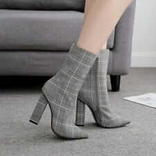 Fashion Women Ladies Glencheck Booties Point-Toe High Block Heel Zip Ankle Boots