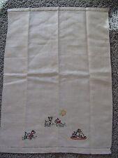Vintage Scottie Dog LINEN Tea Towel  EXCELLENT 19 x 14 Inches