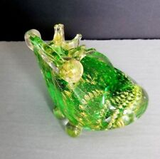Frog Art Glass Figurine Murano Aventurine Crown Green Gold Vintage Toad Blown