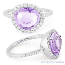 2.66 ct Fancy Amethyst Gem Round Cut Diamond Halo Right-Hand Ring 14k White Gold