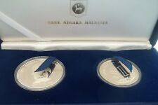 1986 MALAYSIA 35TH PATA CONFERENCE 2 SILVER COIN PROOF SET SINGAPORE MINT COA