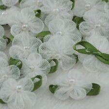 U Pick 200/40pcs Mesh Ribbon Flowers Bows wedding Craft appliques craft A002