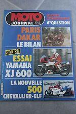 MOTO JOURNAL N°638 YAMAHA XJ 600 ★ CAGIVA 125 WMX ★ HUSQVARNA 400 WR 1984