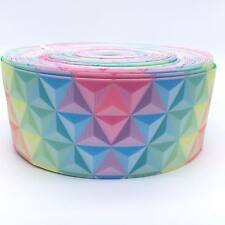 "Pastel Rainbow Triangle 3"" 3 inch 75mm Grosgrain Ribbon per meter"