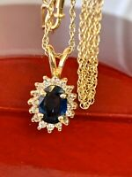 "1.15CT Natural Sapphire Diamond 14K Yellow Gold Halo Pendant W 18.5"" Chain H/VS"