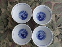4 Vintage Asian Chinese Porcelain Blue White Koi Fish Footed Rice Bowls 11x 51/2