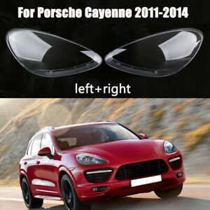 One Pair Headlight Lampshade Clear Lens Cover For Porsche Cayenne 2011-2014