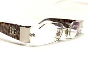 Dolce & Gabbana DG1107-B 077 Womens Leopard Rimless Rx Eyeglasses Frames 50/17
