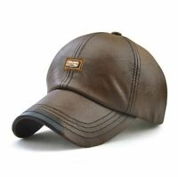 Men Baseball Cap Winter Snapback Hat Faux Leather Warm Hats Male Fashion Caps
