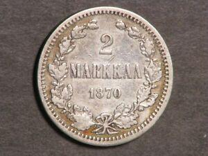 FINLAND 1870S 2 Markkaa Silver F-VF