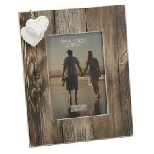Wooden 5'x7' Distressed Look Photo Frame with 2 Hanging Hearts