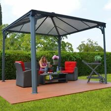 Outdoor Patio Metal Gazebo 12 X 12 Canopy Polycarbonate Roof Aluminum Frame Gray