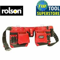 Rolson Heavy Duty 14 Pocket Professional Double Pouch Red Leather Tool Belt