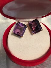 10 K yellow Gold emerald cut Amethyst Earrings