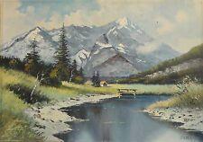 Dubrau signiert - Alpen Gemälde: GEWÄSSER VOR DEM WATZMANN BEI BERCHTESGADEN
