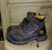 TIMBERLAND PRO SERIES TITAN XL SAFETY TOE LEATHER WORK BOOTS MENS 9 M BROWN