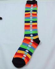 4064de4f8d1 Rainbow Striped Knee High trouser socks Polka Dot Womens 9-11 Black Trim