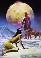 Boris Vallejo Vintage Art Nude Woman Wolfman GGA Wolf Fantasy Print Arctic Moon