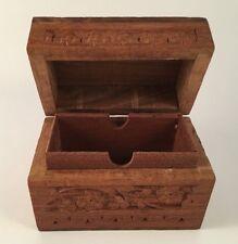 Carved wood trinket box hinged lid Made in India jewelry keepsake