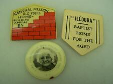 Three 1950's Old Folks Aged appeal card badges Central Mission Illoura plus 1833