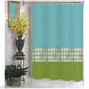 Serenity Fabric Shower Curtain Green Blue White with Flowers (No Hooks included.