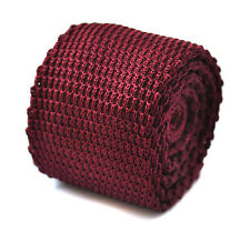 Frederick Thomas skinny plain maroon burgundy knitted tie & pointed end FT3184