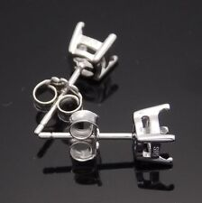 Sterling Silver 925 Semi Mount Earring Setting Fashion Jewelry 5.5mm Round Cut