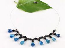 wunderschönes Collier Achat Tropfen und Granat Perlen Edelstein NEU