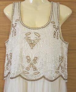 Women ladies Boohoo Dress Ivory White Beads Long Prom Party Christmas Size 12 uk