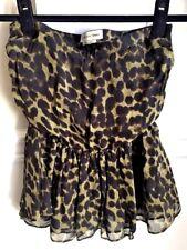 ISABEL MARANT Silk Mini Skirt Tube Top Ruffle Green Black Leopard 34 XS