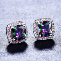 Mystic 18K White Gold Plated Rainbow Topaz Stud Earrings Womens Gift 8MM