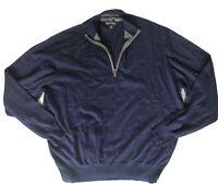 Orvis Mens X-Large Half Zip Sweater 70% Cotton, 22% Silk. 8% Cashmere Navy  Blue