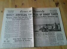 News Chronicle Newspaper-WW2- Jul 12th 1943- Sicily:Airfields,100 miles of coast