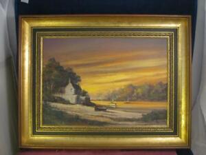 Alan King ( Akin) Original Oil Painting On Canvas Sunset Mooring River Dart COA