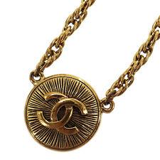 CHANEL Logo Kreis Halskette Goldton Frankreich Vintage Authentisch #KK36 I