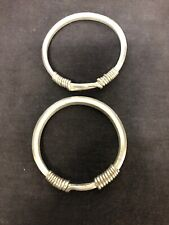 Antique Pair Of Handmade Silver Tone Bangles