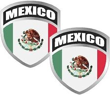 "2 -3"" Mexico Mexican Mex MX Flag Shield Decal SET Badge"