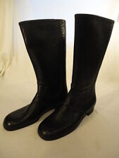 Black Pleather Faux Fur Lined Warm Slip On Snow Winter Boots Size 9