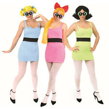LADIES 1990s POWERPUFF GIRLS COSTUMES & ACCESSORY SETS ADULTS 90s FANCY DRESS