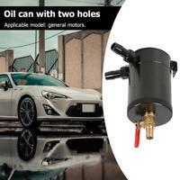 2-Port Baffled Aluminum Alloy Oil Catch Can Reservoir Tank with Drain Valve