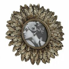 "Gold Round Photo Picture Frame Vintage Art Nouveau Style Small 4.5"" 11cm"