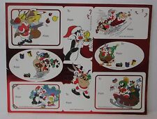 VINTAGE LOONEY TUNES CHRISTMAS GIFT TAGS STICKERS 1 Sheet 8 Tags  d