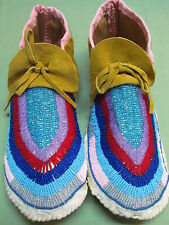 NATIVE FULL BEAD SHIMMERING MOCCASINS  10 INCHES LONG GRAND ARRANGMENT OF BEADS