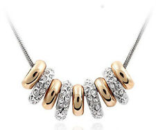 GORGEOUS 18K WHITE & ROSE GOLD PLATED LOVE RING NECKLACE WITH AUSTRIAN CRYSTALS