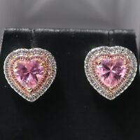 4 Ct Pink Sapphire Moissanite Halo Stud Earrings White Gold Plated Jewelry Gift