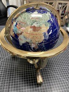 "14"" Blue Lapis Lazuli Gemstone Globe on Brass Stand with Compass"